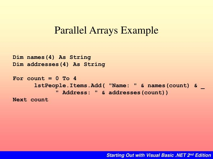 Parallel Arrays Example