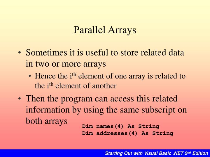 Parallel Arrays