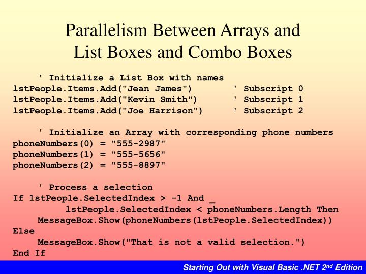 Parallelism Between Arrays and