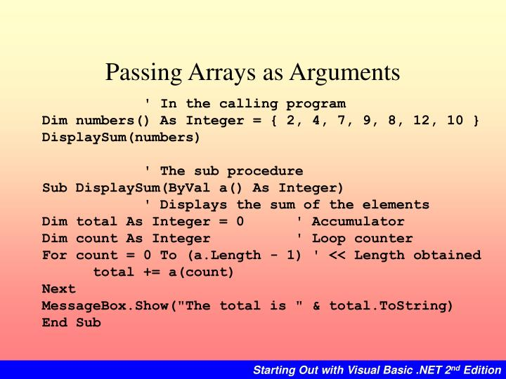 Passing Arrays as Arguments