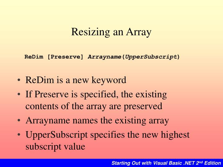 Resizing an Array