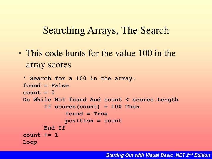 Searching Arrays, The Search
