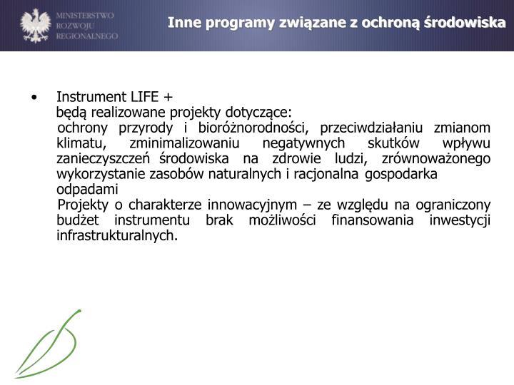 Inne programy związane z ochroną środowiska