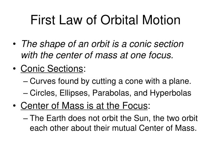First Law of Orbital Motion