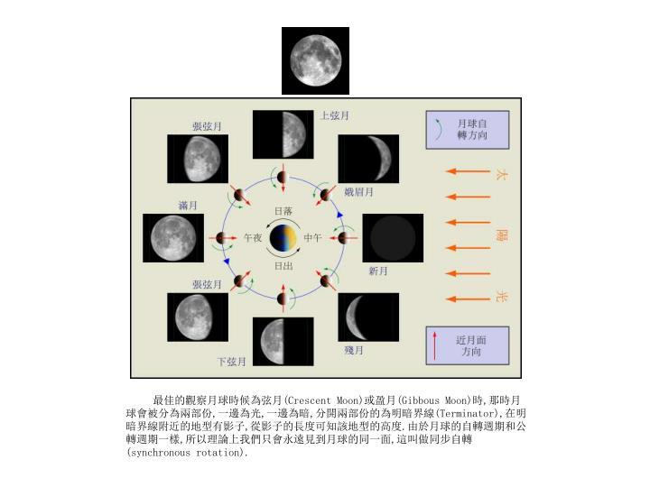 最佳的觀察月球時候為弦月
