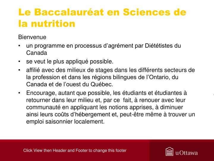Le Baccalauréat en Sciences de la nutrition
