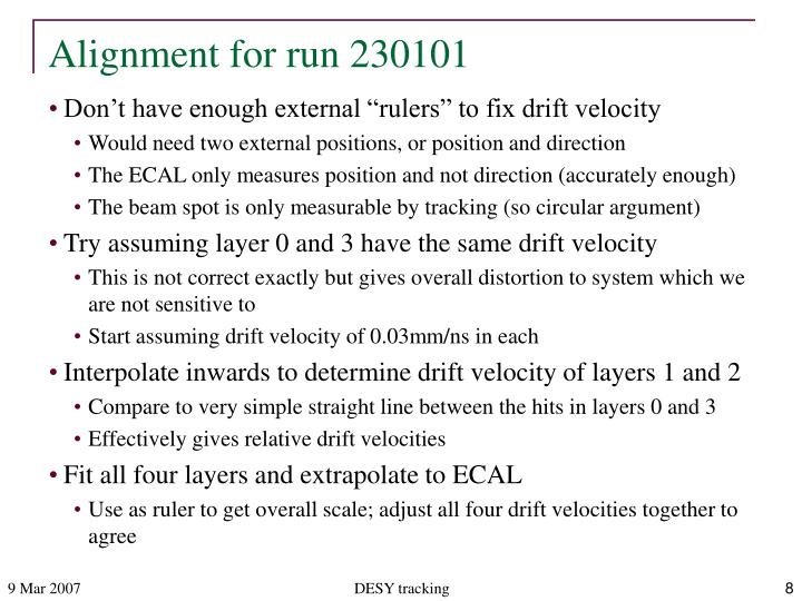 Alignment for run 230101