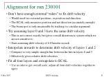 alignment for run 230101