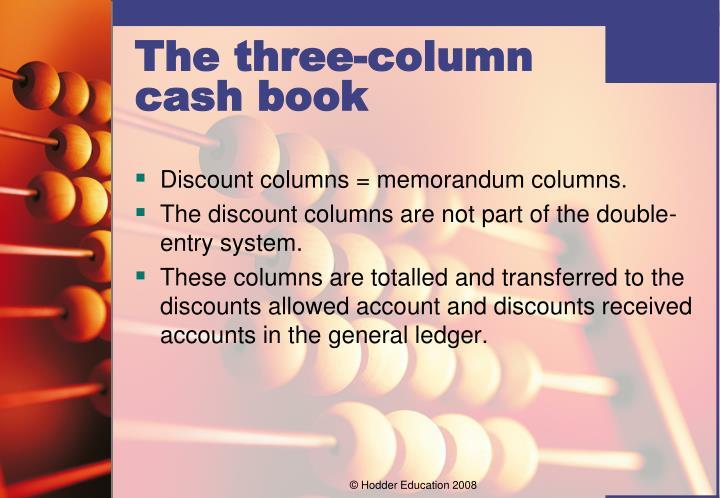 Discount columns = memorandum columns.