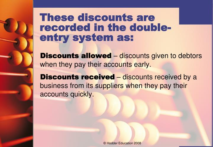 Discounts allowed