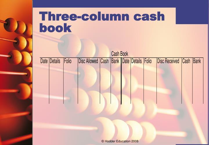 Three-column cash book