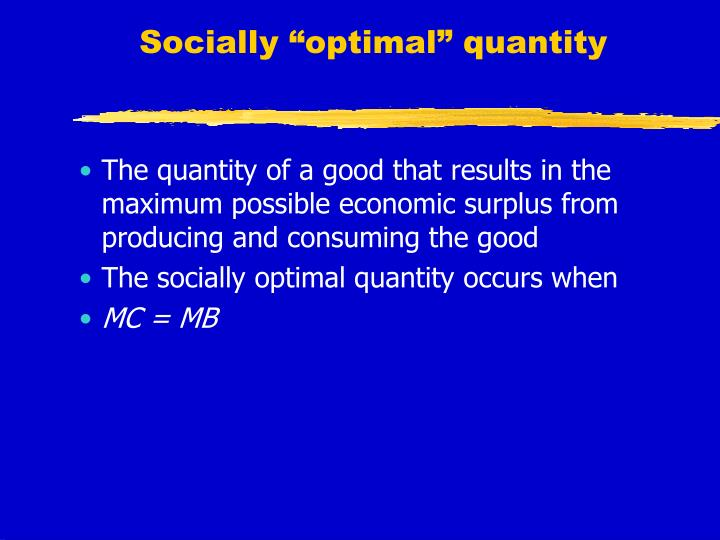 "Socially ""optimal"" quantity"