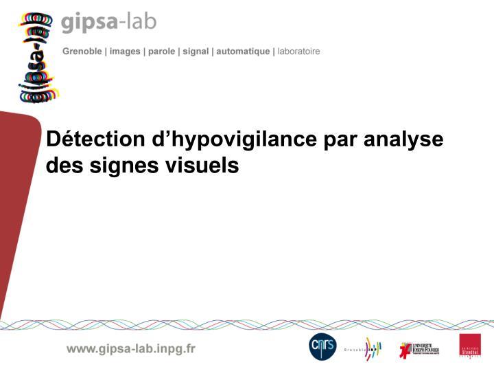 Détection d'hypovigilance par analyse des signes visuels