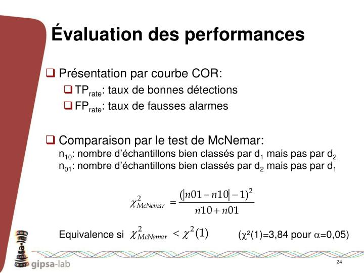 Évaluation des performances
