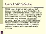 iowa s rosc definition
