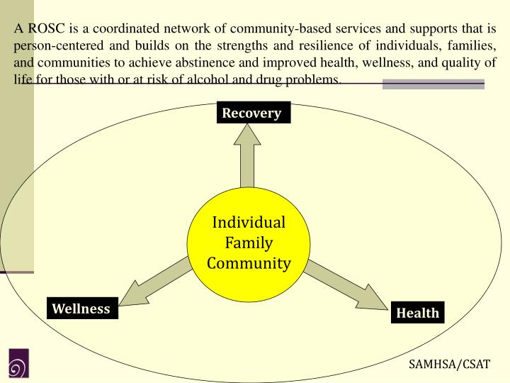 A ROSC is a coordinated network of community-based services and supports that is person-centered and builds on the strengths and resilience of individuals, families, and communities to achieve abstinence and improved health, wellness, and quality of life for those with or at risk of alcohol and drug problems.