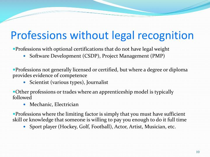 Professions without legal recognition