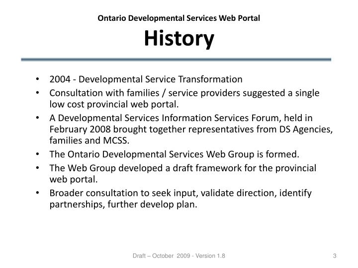 Ontario developmental services web portal history