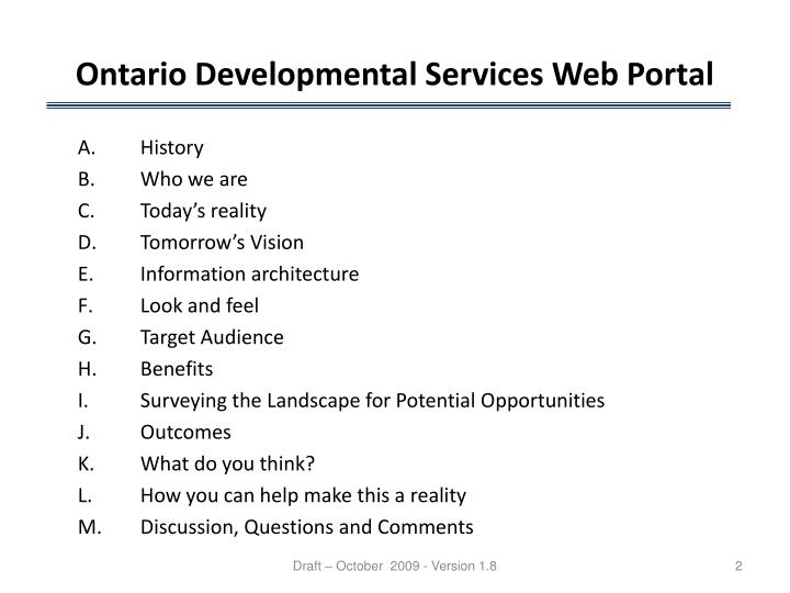 Ontario developmental services web portal1