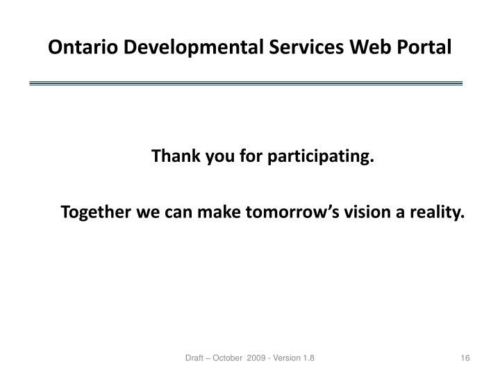 Ontario Developmental Services Web Portal