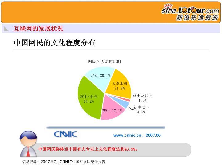 中国网民群体当中拥有大专以上文化程度达到