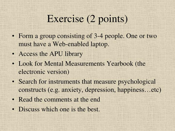 Exercise (2 points)