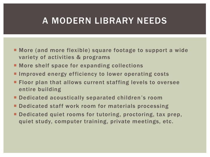 A MODERN LIBRARY NEEDS