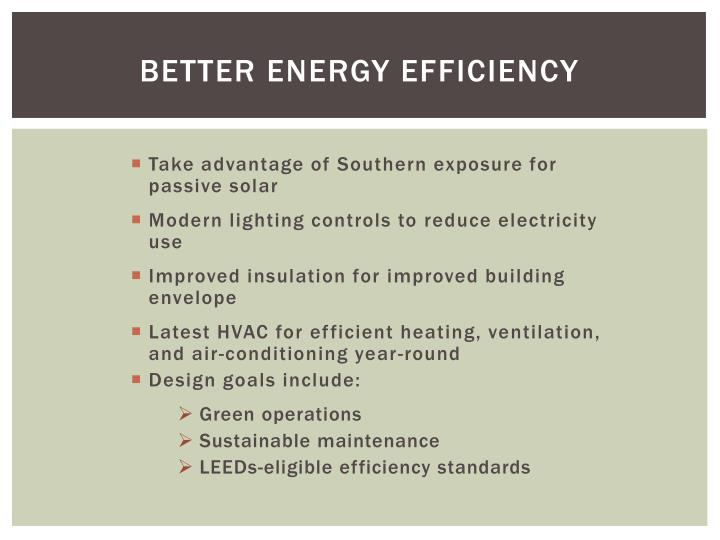 BETTER ENERGY EFFICIENCY