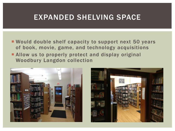 EXPANDED SHELVING SPACE