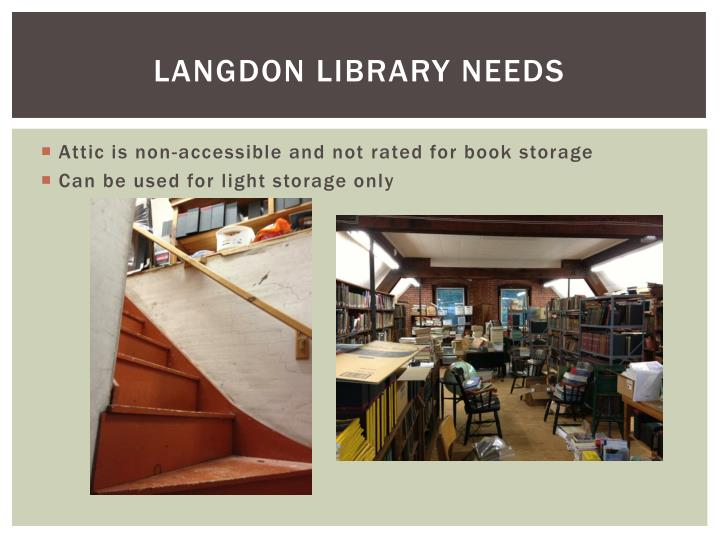 LANGDON LIBRARY NEEDS