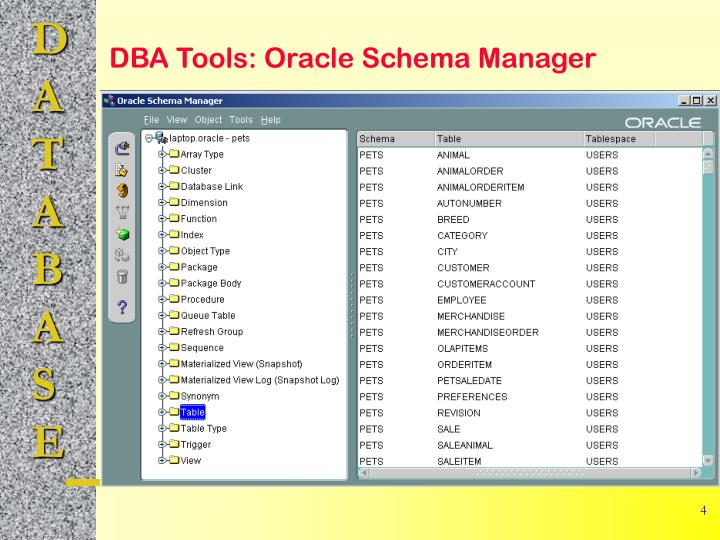 DBA Tools: Oracle Schema Manager