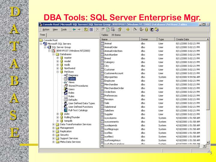 DBA Tools: SQL Server Enterprise Mgr.