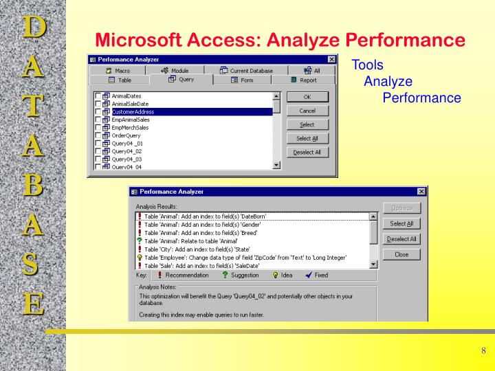 Microsoft Access: Analyze Performance