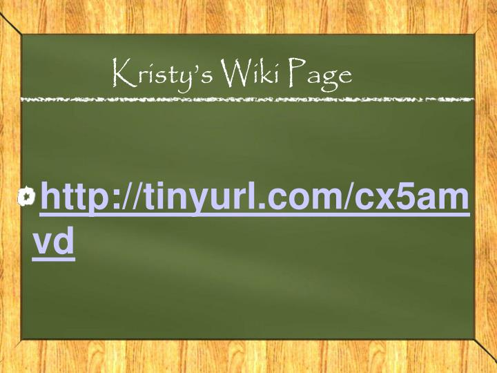 Kristy s wiki page