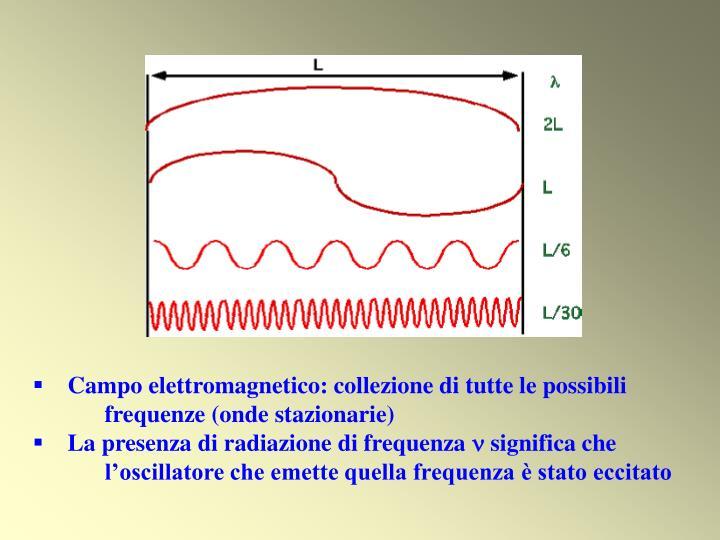 Campo elettromagnetico: collezione di tutte le possibili            frequenze (onde stazionarie)