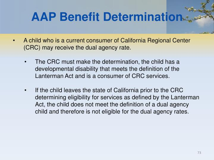 AAP Benefit Determination