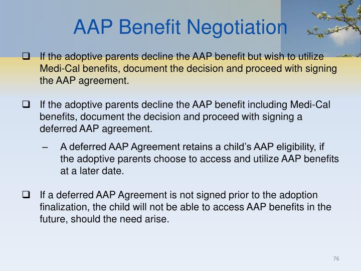 AAP Benefit Negotiation