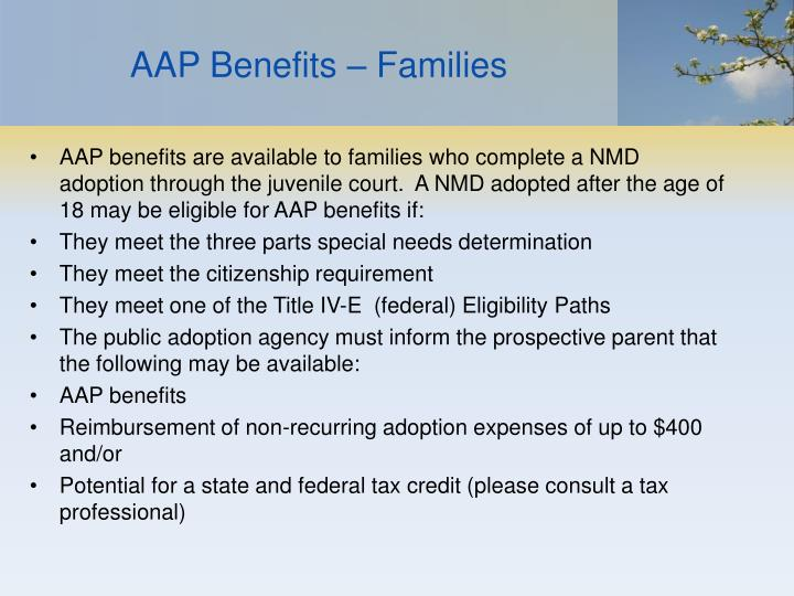 AAP Benefits – Families