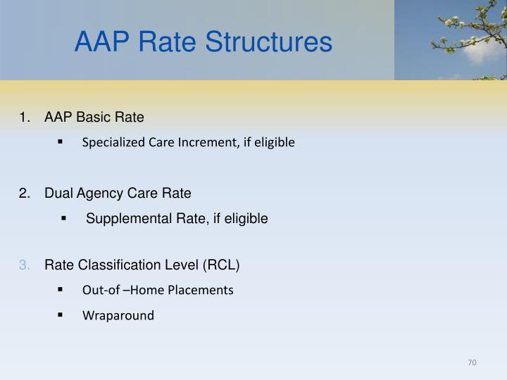 AAP Rate Structures
