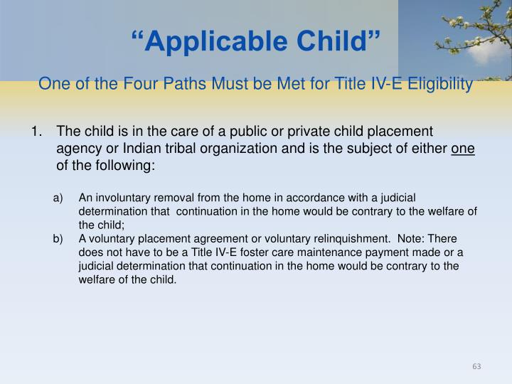 """Applicable Child"""