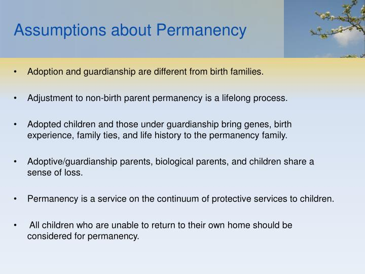Assumptions about Permanency