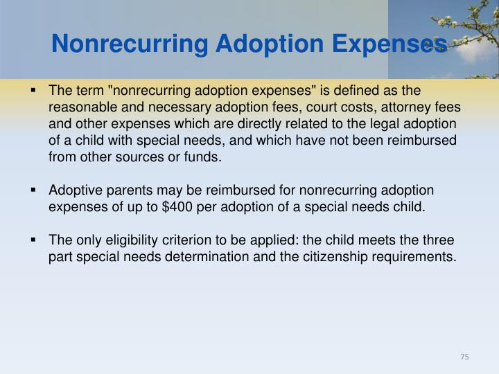 Nonrecurring Adoption Expenses
