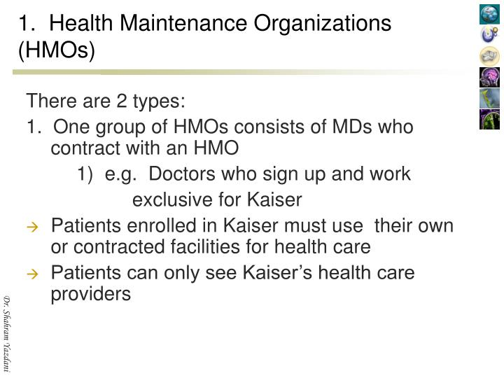 1.  Health Maintenance Organizations (HMOs)