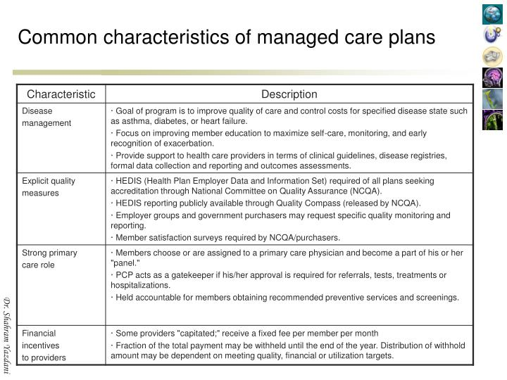 Common characteristics of managed care plans