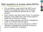 main questions to answer about mcos2
