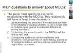 main questions to answer about mcos5