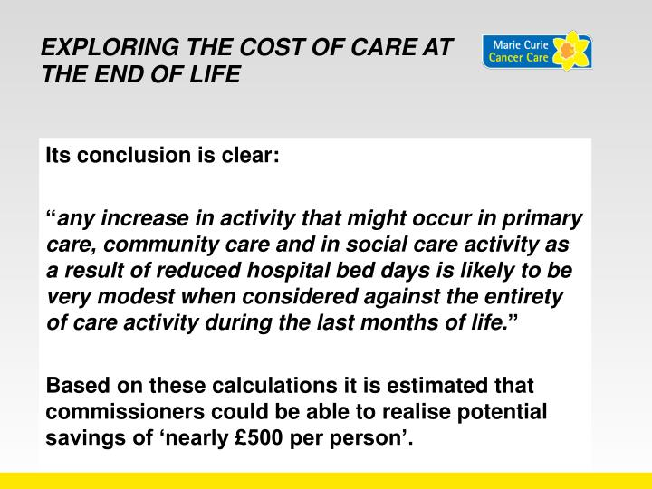 Exploring the cost of care at the end of