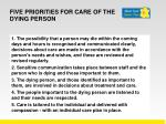 five priorities for care of the dying person1