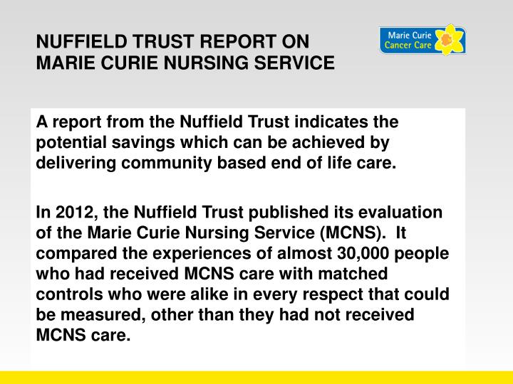 Nuffield Trust report on Marie