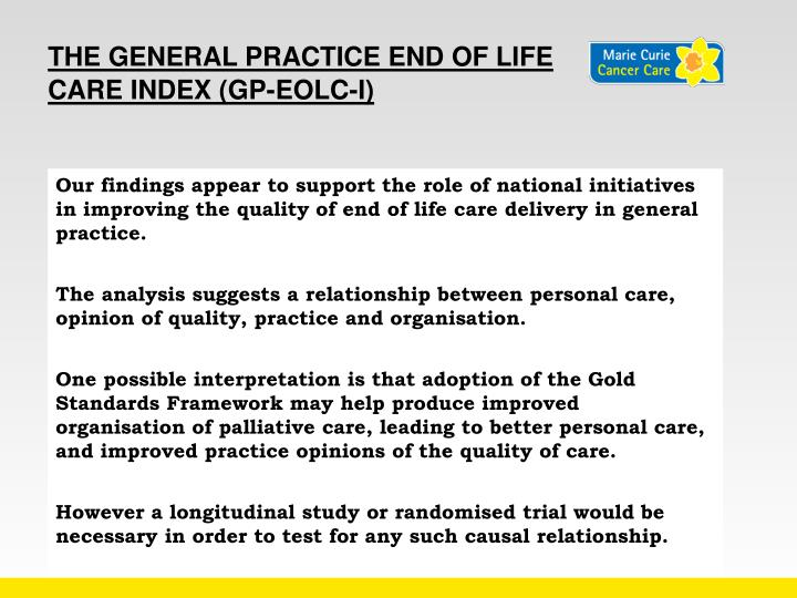 The General Practice End of Life Care Index (GP-